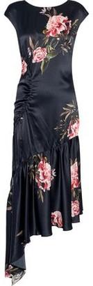 Sachin + Babi Huma Asymmetric Floral-print Silk-satin Midi Dress