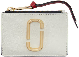 Marc Jacobs Off-White and Navy Small Snapshot Top Zip Card Holder