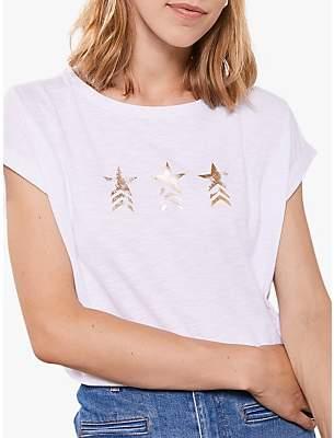 Mint Velvet Military Star Cotton Tee, White