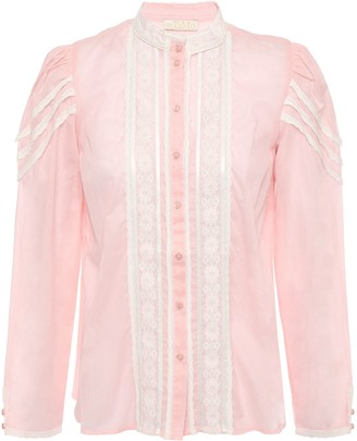 By Ti Mo Lace And Crochet-trimmed Pintucked Cotton-gauze Blouse