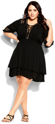 City Chic Bring The Heat Dress - black