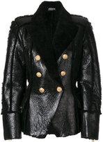Balmain double breasted jacket - women - Lamb Skin/Lamb Fur - 36