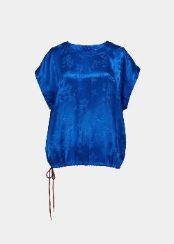 Essentiel Cobalt Blue Floral Print Top - 34
