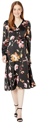 Maggy London Painted Garden Charmeuse Dress (Black/Carlet) Women's Dress