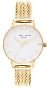Olivia Burton Women's Gold-Tone Stainless Steel Mesh Bracelet Watch 30mm