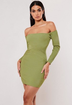 Missguided Premium Olive Bandage Bardot Mini Dress