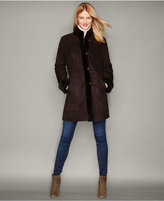 The Fur Vault Plus Size Shearling Lamb Stand-Collar Coat