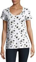 Lord & Taylor Plus Sunflower-Print Scoopneck Roll-Sleeve Tee
