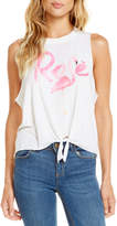 Chaser Rose Flamingo Tie-Front Muscle Tee