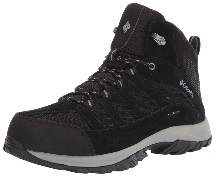 Columbia Men's Crestwood Mid Waterproof Hiking Boot Black Grey 11 Wide US