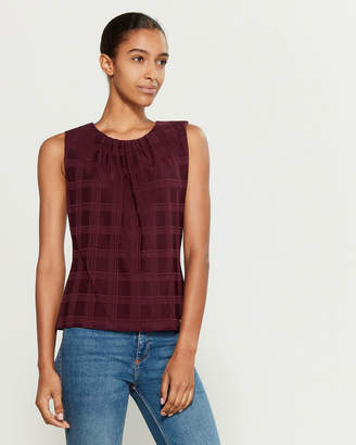 Calvin Klein Plaid Pattern Pleated Sleeveless Top