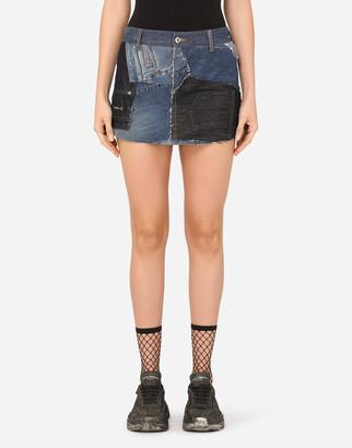 Dolce & Gabbana Patchwork Denim Miniskirt