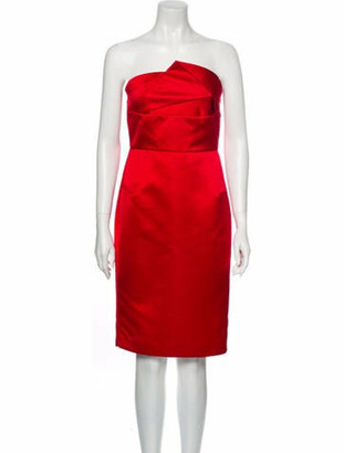 Roland Mouret Strapless Mini Dress Red