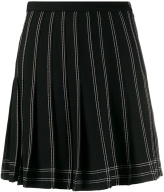 Off-White Contrast Stitch Pleated Skirt