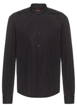 HUGO BOSS Slim Fit Shirt In Cotton With Piped Stand Collar - Black