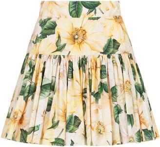 Dolce & Gabbana Floral-Print Mini Skirt