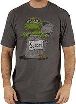 Mighty Fine Men's Sesame Street Oscar the Grouch Scram T-Shirt Charcoal 2XL