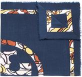 Tory Burch logo print scarf - women - Wool - One Size