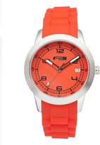 Red Stainless Steel & Silicone Bracelet Watch