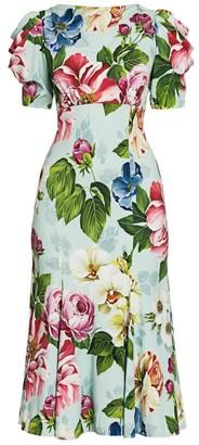 Dolce & Gabbana Cady Floral-Print Draped-Sleeve Midi Dress