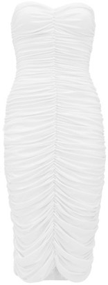 Norma Kamali Ruched Strapless Jersey Dress - White