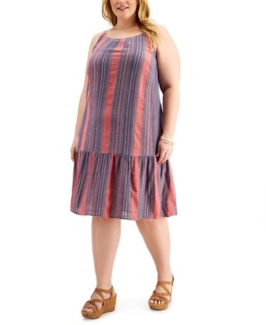 Style&Co. Style & Co Plus Size Striped Drop-Waist Dress, Created for Macy's