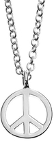 Minor Obsessions Tiny Peace Sign Necklace - White Gold