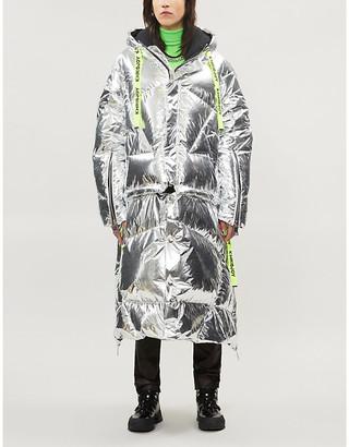 KHRISJOY Metallic shell-down hooded jacket