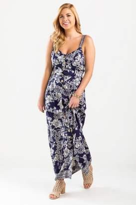 francesca's Reece Floral Button Maxi Dress - Navy