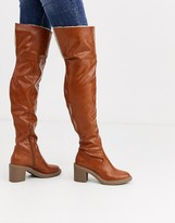 Asos Design DESIGN Kelsie shearling over the knee boots in tan