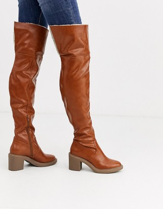 Asos DESIGN Kelsie shearling over the knee boots in tan