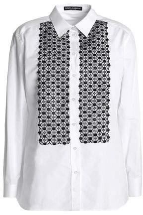 Dolce & Gabbana Crochet-Paneled Cotton-Blend Poplin Shirt