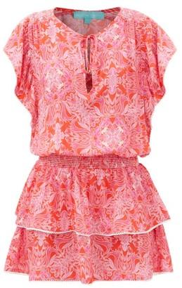 Melissa Odabash Keri Leaf-print Crepe Mini Dress - Red