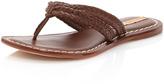 Bernardo Miami Woven-Strap Leather Thong Sandal, Asmara Luggage