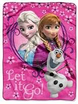 "Disney Frozen Springtime ""Let It Go!"" Silk Touch Plush Throw Pink"