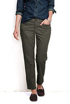Lands' End Women's Petite Pre-hemmed Not-Too-Low Rise Slim Leg Chino Pants-Khaki