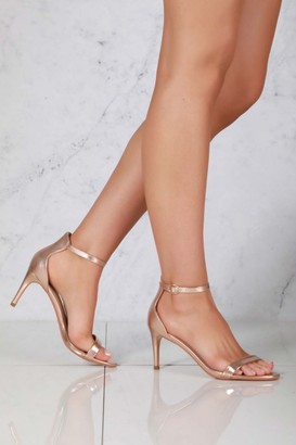 Miss Diva Ayda barely there mid stiletto sandal in Rose Gold