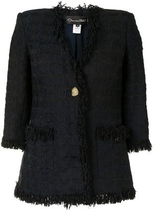 Oscar de la Renta Single-Breasted Crop-Sleeve Jacket