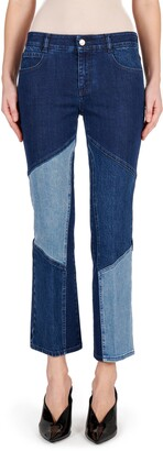 Stella McCartney Patchwork Straight Leg Organic Cotton Blend Jeans