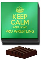 GREEN Set of 4 Keep Calm and Love Pro Wrestling Glass Coaster COLOUR 0973