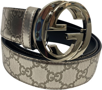Gucci Interlocking Buckle Silver Patent leather Belts