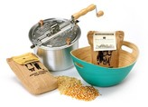 Wabash Valley Farms Whirley-Pop Original Stovetop Popcorn Popper with Handcrafted Bamboo Bowl and Amish County Burlap Bag Popcorn - Silver/Teal/Yellow/White