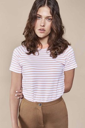 N. Jan 'n June - Quito Striped Organic Cotton T Shirt Cantaloupe - XS