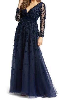 Mac Duggal Velvet Floral Applique Long Sleeve Gown