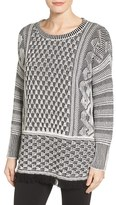 Chaus Women's Fringe Hem Cotton Blend Jacquard Sweater