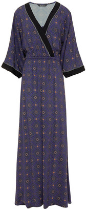 Jets Cutout Printed Voile Maxi Dress