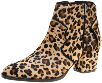 Zadig and Voltaire Brown Leopard Print Calf Hair Molly Leo Cowboy Boots Size 41
