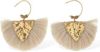 Elise Tsikis Agia White Tassels Hammered Earrings