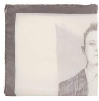 Title Of Work - Mug Shot Silk Pocket Square - Mens - Grey