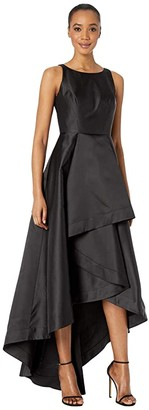 Adrianna Papell Mikado High-Low Gown (Black) Women's Dress